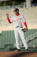 Greenville Drive starting pitcher Jose Almonte (29) signals to his infielders during the game against the Kannapolis Intimidators at Intimidators Stadium on June 8, 2016 in Kannapolis, North Carolina.  The Intimidators defeated the Drive 3-2.  (Brian Westerholt/Four Seam Images)