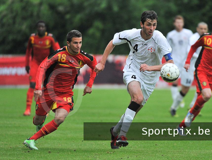 Georgia U19 - Belgium U19 : Siebe Schrijvers (18) and Nika Sandokhadze (4)<br /> foto DAVID CATRY / Nikonpro.be