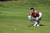 Rory McIlroy (Team Europe) lines up his putt on the 17th green during Saturday's Fourball Matches at the 2018 Ryder Cup 2018, Le Golf National, Ile-de-France, France. 29/09/2018.<br /> Picture Eoin Clarke / Golffile.ie<br /> <br /> All photo usage must carry mandatory copyright credit (© Golffile | Eoin Clarke)