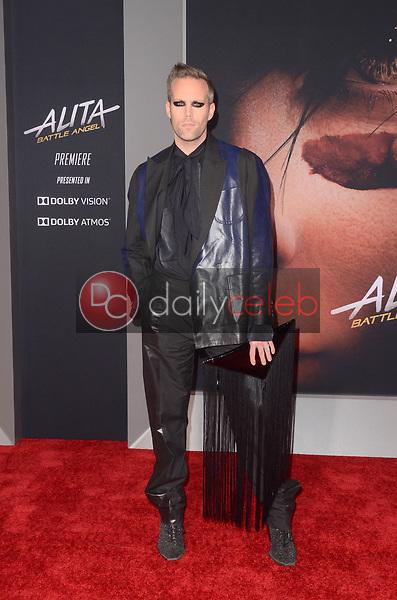 "Justin Trantor<br /> at the ""Alita Battle Angel"" Premiere, Village Theater, Westwood, CA 02-05-19<br /> David Edwards/DailyCeleb.com 818-249-4998"