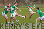 Legions Billy McGuire on a scoring run gets the better of St Michaels/Foilmores Sean O'Connor and puts it past Darragh Scanlon for another Legion point.