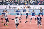 24.02.2019, SAP Arena, Mannheim<br /> Volleyball, DVV-Pokal Finale, VfB Friedrichshafen vs. SVG LŸneburg / Lueneburg<br /> <br /> Noah Baxpšhler / Baxpoehler (#4 Lueneburg), Raymond Szeto (#11 Lueneburg), Zuspiel Adam Schriemer (#3 Lueneburg), Tyler Koslowsky (#1 Lueneburg)<br /> <br />   Foto © nordphoto / Kurth