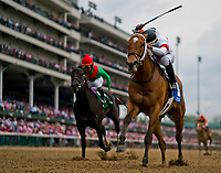 LOUISVILLE, KY - MAY 04: Mia Mischief #3, ridden by Ricardo Santanta Jr, wins the Eight Belles during an undercard race on Kentucky Oaks Day at Churchill Downs on May 4, 2018 in Louisville, Kentucky. (Photo by Scott Serio/Eclipse Sportswire/Getty Images)