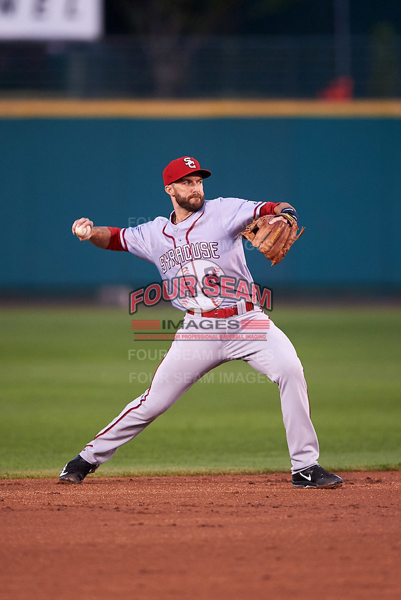 Syracuse Chiefs second baseman Steve Lombardozzi (8) warmup throw to first during a game against the Rochester Red Wings on July 1, 2016 at Frontier Field in Rochester, New York.  Rochester defeated Syracuse 5-3.  (Mike Janes/Four Seam Images)