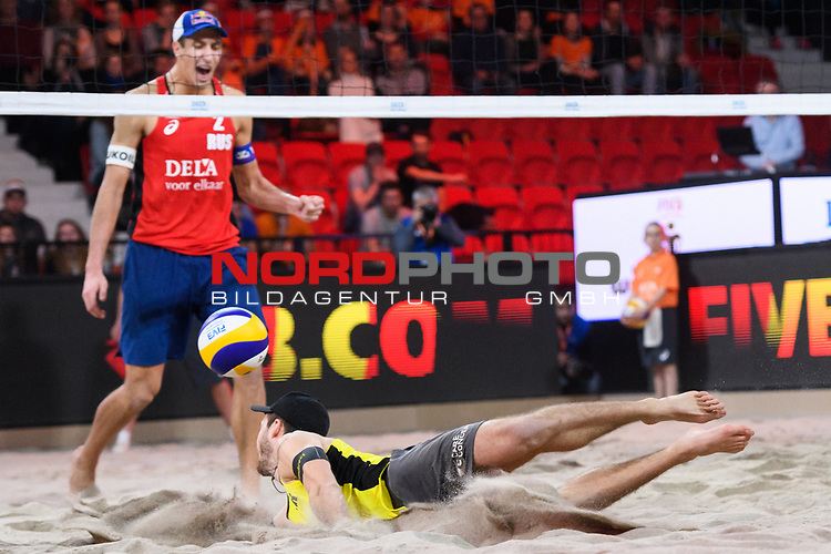 06.01.2019, Den Haag, Sportcampus Zuiderpark<br /> Beachvolleyball, FIVB World Tour, 2019 DELA Beach Open, Finale<br /> <br /> Abwehr Clemens Wickler (#2)<br /> <br />   Foto © nordphoto / Kurth