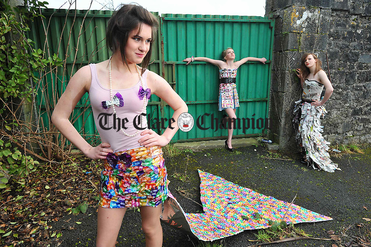 Maedhbh Grogan, Claire Purcell and Alice Mahony modelling outfits made from recycled materials in preparation for  the Colaiste Muire charity fashion show, being held in conjunction with the Martina Costello Modelling Agency,  in aid of Can Teen Ireland, an organisation for teenagers with cancer, and in memory of Ciara Conroy, a student at the school who died last year. Photograph by John Kelly.