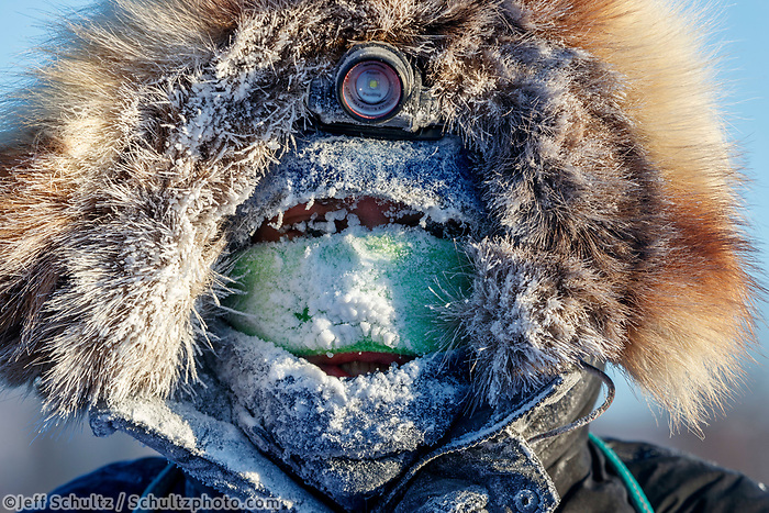 Joar Leifseth Ulsom is frosted up at the checkpoint in Manley Hot Springs during the 2017 Iditarod on Tuesday March 7, 2017.<br /> <br /> Photo by Jeff Schultz/SchultzPhoto.com  (C) 2017  ALL RIGHTS RESVERVED