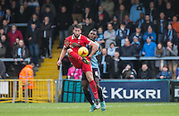 Ollie Palmer of Leyton Orient & Aaron Pierre of Wycombe Wanderers in action during the Sky Bet League 2 match between Wycombe Wanderers and Leyton Orient at Adams Park, High Wycombe, England on 23 January 2016. Photo by Andy Rowland / PRiME Media Images.