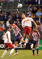 Red Bulls Mid. Seth Stammler goes up high for a header over Chivas USA Mid. Sacha Kljestan    during a 0-0 tie between the Chivas USA vs New York Red Bulls in a game at The Depot Center in Carson, California Saturday, April, 29, 2006.