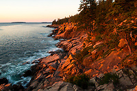Sunrise along the coast of Acadia National Park in Maine