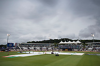 The covers show no signs of being removed at the Ageas Bowl during South Africa vs West Indies, ICC World Cup Cricket at the Hampshire Bowl on 10th June 2019