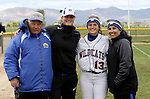Kristina George with coaches at the Sophomore Day celebration after the first game of the Western Nevada College softball doubleheader on Saturday, April 30, 2016 at Pete Livermore Sports Complex. Photo by Shannon Litz/Nevada Photo Source