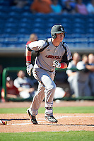 Louisville Cardinals first baseman Brendan McKay (38) runs to first after hitting a home run during a game against the Ball State Cardinals on February 19, 2017 at Spectrum Field in Clearwater, Florida.  Louisville defeated Ball State 10-4.  (Mike Janes/Four Seam Images)