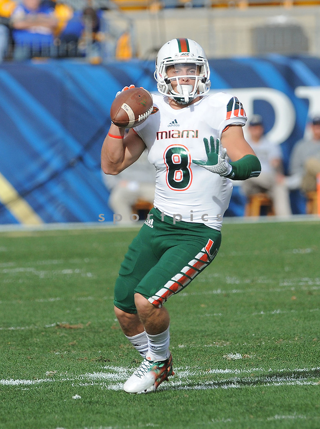Miami Hurricanes Braxton Berrios (8) during a game against the Pittsburgh Panthers on November 27, 2015 at Heinz Field in Pittsburgh, PA. Miami beat Pittsburgh 29-24.