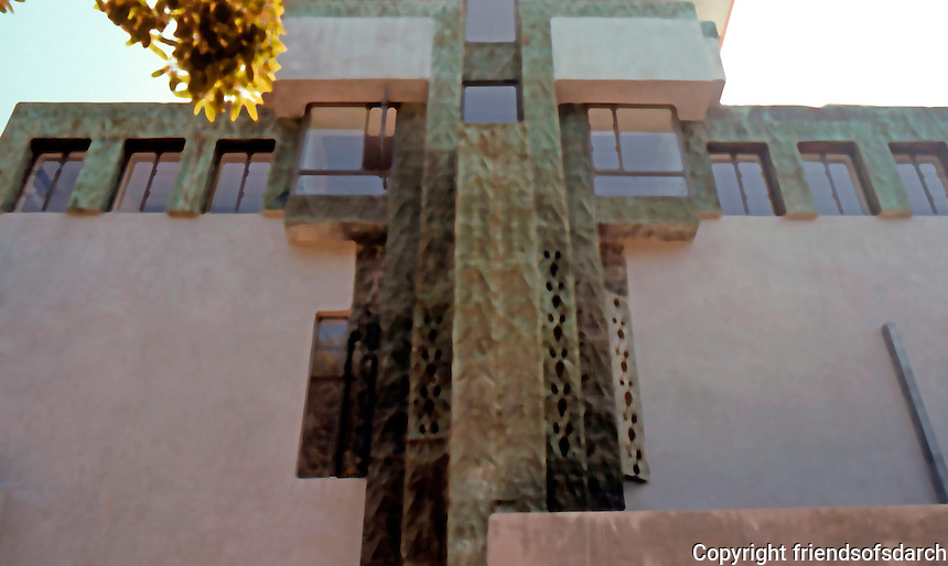 LLoyd Wright: Samuels-Navarro House, 1926-28. Wright translates his father's Mayanesque concrete block into pressed metal. Pre-Columbian/Zig-Zag Moderne.  Photo '82.