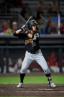 West Virginia Black Bears Jared Triolo (23) at bat during a NY-Penn League game against the Auburn Doubledays on August 23, 2019 at Falcon Park in Auburn, New York.  West Virginia defeated Auburn 6-5, the second game of a doubleheader.  (Mike Janes/Four Seam Images)