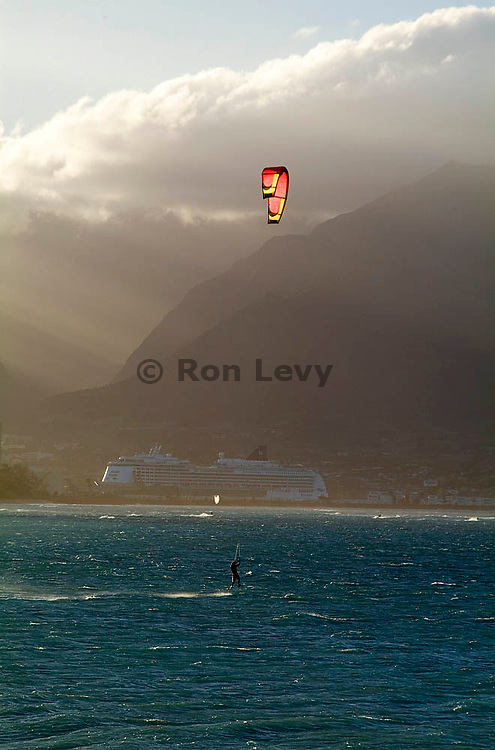 Windsurfer off Hookipa beach, Maui, Hawaii