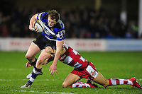 Harry Davies of Bath Rugby takes on the Gloucester Rugby defence. Anglo-Welsh Cup match, between Bath Rugby and Gloucester Rugby on January 27, 2017 at the Recreation Ground in Bath, England. Photo by: Patrick Khachfe / Onside Images