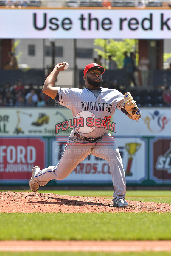 Adonis Uceta (23) of the Binghamton Rumble Ponies delivers a pitch during a game against the Hartford Yard Goats at Dunkin Donuts Park on May 9, 2018 in Hartford, Connecticut. (Gregory Vasil/Four Seam Images)