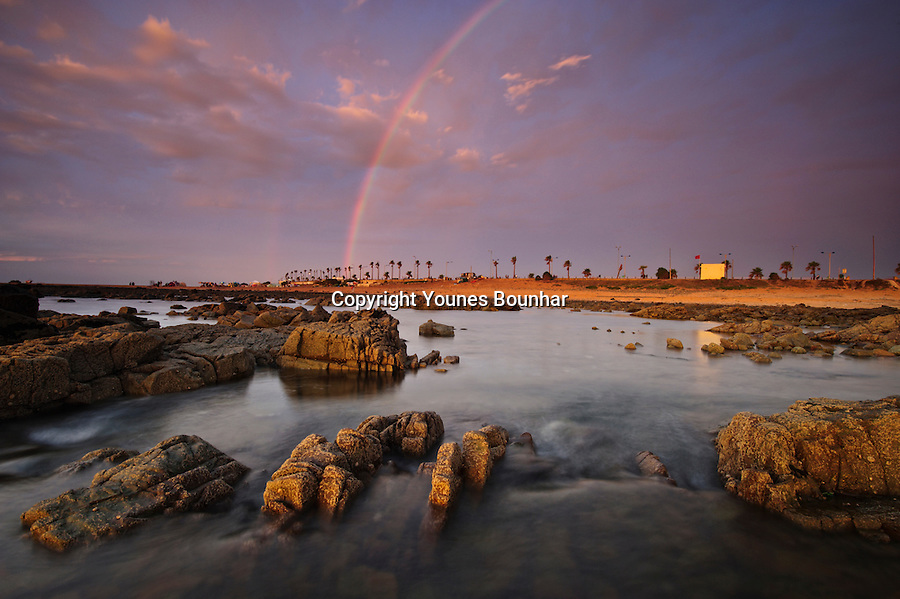 A rainbow appears on the western coast of Morocco after a spring storm clears