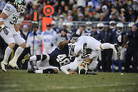 22 November 2008:  Penn State DE Maurice Evans (48) sacks Michigan State QB Brian Hoyer (7) for a loss of 11 yards.  The Penn State Nittany Lions defeated the Michigan State Spartans 49-18 to win the Land Grant Trophy and 2008 Big Ten Conference Championship at Beaver Stadium in State College, PA..