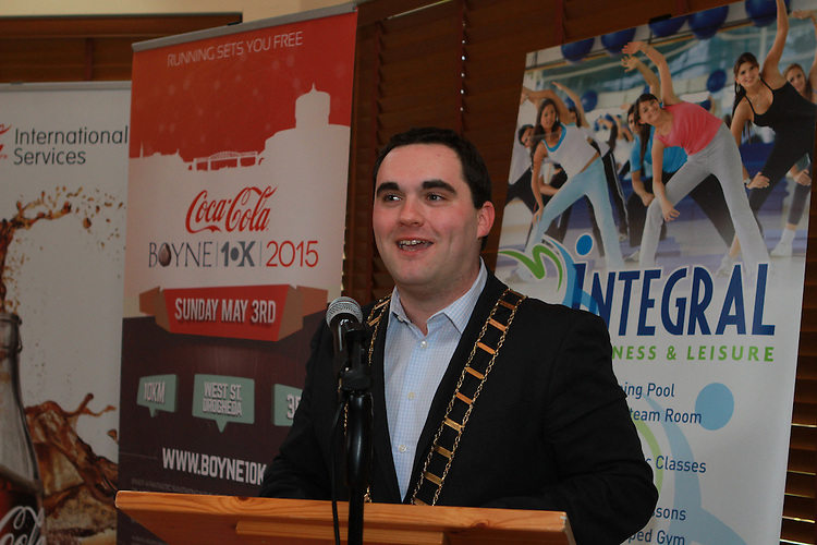 Mayor Kevin Callan at the Launch of the Boyne 10km in the Gary Kelly Centre.