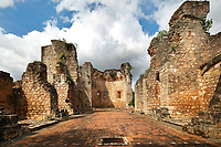 Nave of the Monasterio de San Francisco, a monastery built 1508 by Spanish Franciscan friars, in the Colonial Zone of Santo Domingo, Dominican Republic, in the Caribbean. The complex was built under Nicolas de Ovando and it is the first monastery in the New World. The building has been repeatedly damaged by hurricanes and earthquakes and is now in ruins. Santo Domingo's Colonial Zone is listed as a UNESCO World Heritage Site. Picture by Manuel Cohen