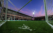 1st February 2019, Deepdale, Preston, England; EFL Championship football, Preston North End versus Derby County; a view of the pitch from inside the goalmouth prior to the match