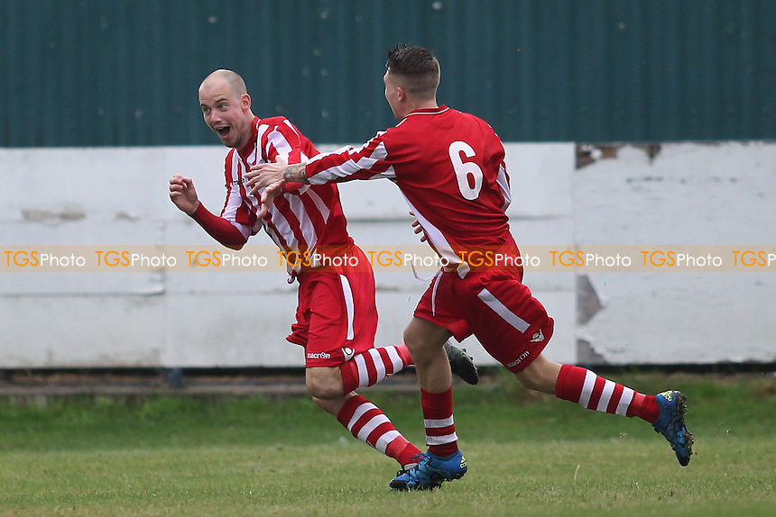 Former Redbridge player Ben Bradbury scores for Eton Manor and celebrates during Redbridge vs Eton Manor, Essex Senior League Football at Oakside Stadium on 10th September 2016