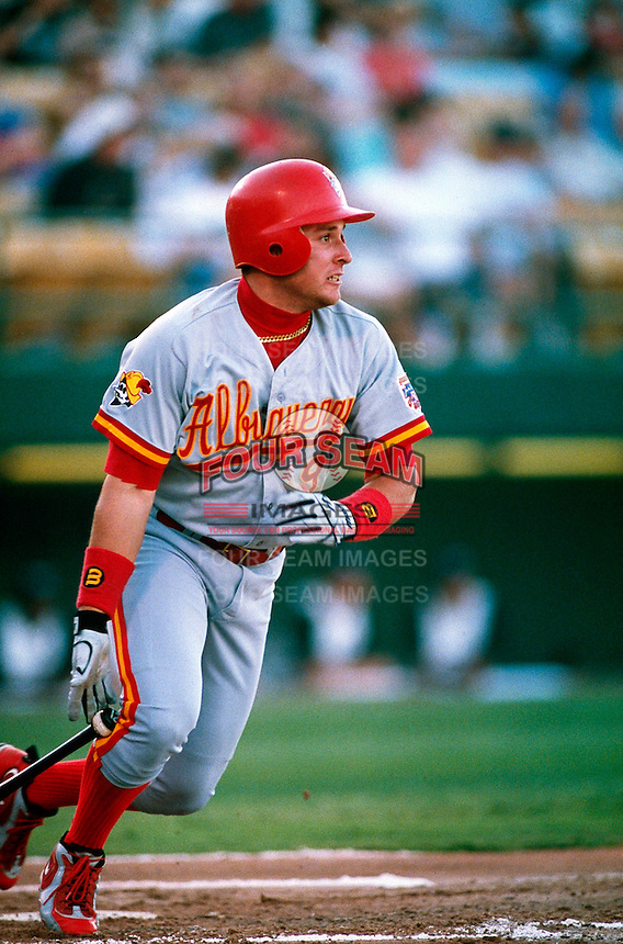 Karim Garcia of the Albuquerque Dukes during a game at Cashman Field in Las Vegas, Nevada during the 1997 season.(Larry Goren/Four Seam Images)
