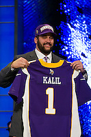 The fourth overall pick tackle Matt Kalil (Southern California) of the Minnesota Vikings during the first round of the 2012 NFL Draft at Radio City Music Hall in New York, NY, on April 26, 2012.
