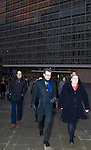 BRUSSELS - BELGIUM - 21 January 2015 -- Erna SOLBERG, Prime Minister of Norway walking to the Norway House from her hotel. -- Photo: Juha ROININEN / EUP-IMAGES / Prime Ministers Office