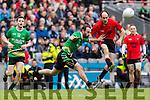 Bernard Murphy Glenbeigh Glencar in action against Aidan Girvan Rock Saint Patricks in the Junior Football All Ireland Final in Croke Park on Sunday.