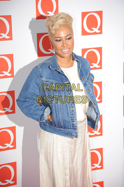Emeli Sande.The Q Awards 2012, Grovsnor Hotel, London, England..22nd October 2012.half length blue jean denim jacket hands in pockets white dress top skirt.CAP/CAS.©Bob Cass/Capital Pictures.