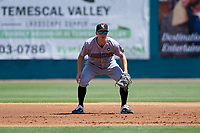 Inland Empire 66ers first baseman Jordan Zimmerman (5) during a California League game against the Lake Elsinore Storm on April 14, 2019 at The Diamond in Lake Elsinore, California. Lake Elsinore defeated Inland Empire 5-3. (Zachary Lucy/Four Seam Images)