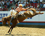 Kaycee Field scores an 86 point bareback ride on the Beutler & Son Rodeo Company bronc South Point to win short go action at the Greeley Independence Stampede Rodeo on July 4, 2008, in Greeley, Colorado.
