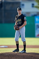 West Virginia Black Bears starting pitcher Aaron Shortridge (37) gets ready to deliver a pitch during a game against the Batavia Muckdogs on July 3, 2018 at Dwyer Stadium in Batavia, New York.  Batavia defeated West Virginia 5-4.  (Mike Janes/Four Seam Images)