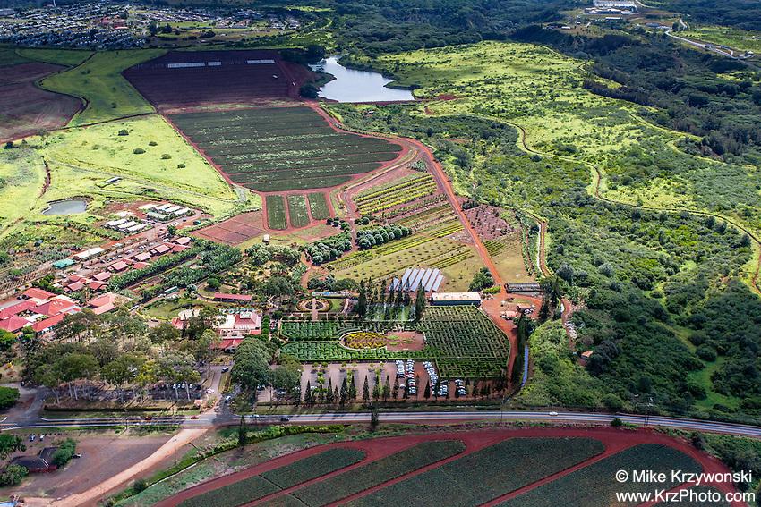 Aerial view of Dole Plantation Center w/ human maze, Wahiawa, Oahu