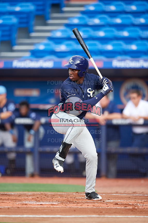 Charlotte Stone Crabs Jesus Sanchez (4) at bat during the first game of a doubleheader against the St. Lucie Mets on April 24, 2018 at First Data Field in Port St. Lucie, Florida.  St. Lucie defeated Charlotte 5-3.  (Mike Janes/Four Seam Images)