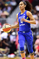 Washington, DC - August 12, 2018: Dallas Wings All-Star guard Skylar Diggins-Smith (4) brings the ball up court during game between the Washington Mystics and the Dallas Wings at the Capital One Arena in Washington, DC. (Photo by Phil Peters/Media Images International)