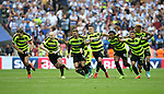 Huddersfield's players celebrate their penalty shootout win during the Championship Play-Off Final match at Wembley Stadium, London. Picture date: May 29th, 2017. Pic credit should read: David Klein/Sportimage