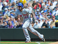 15 April 2010: New York Mets shortstop Jose Reyes during a regular season Major League Baseball game between the Colorado Rockies and the New York Mets at Coors Field in Denver,  Colorado. The Mets defeated the Rockies 5-0 on Jackie Robinson day.  *****For Editorial Use Only*****