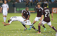 CARSON, CA – September 9, 2011: LA Galaxy forward Paolo Cardozo (30) and Colorado Rapid defender Marvell Wynne (22) during the match between LA Galaxy and Colorado Rapids at the Home Depot Center in Carson, California. Final score LA Galaxy 1, Colorado Rapids 0.