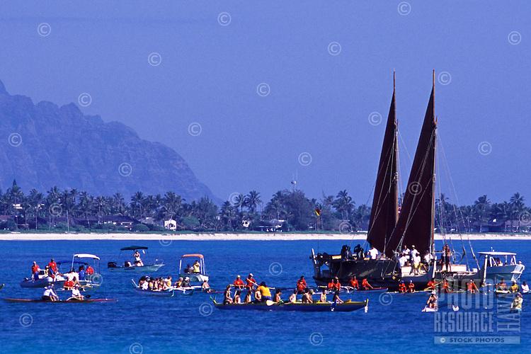 Hokulea arrival at Kailua
