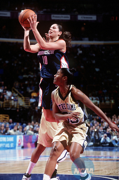 30 MAR 2001:  Guard Sue Bird (10) of the University of Connecticut drives to the hoop against guard Niele Ivey (33) of Notre Dame during the Division 1 Women's Basketball Semifinals held at the Savvis Center in St. Louis, MO.  Notre Dame defeated UCONN 90-75 to advance to the national championship game.  Jamie Schwaberow/NCAA Photos