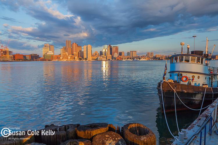 Sunrise on Boston Harbor, Boston, Massachusetts, USA