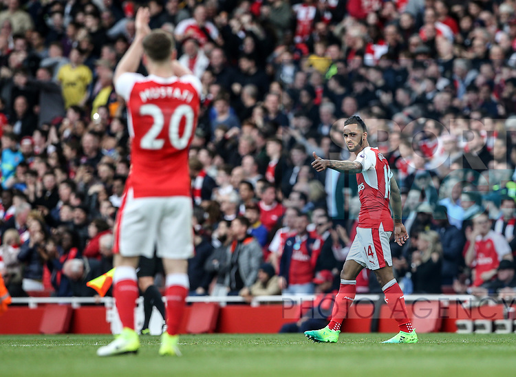 Arsenal's Theo Walcott celebrates his goal during the Premier League match at the Emirates Stadium, London. Picture date: April 2nd, 2017. Pic credit should read: David Klein/Sportimage