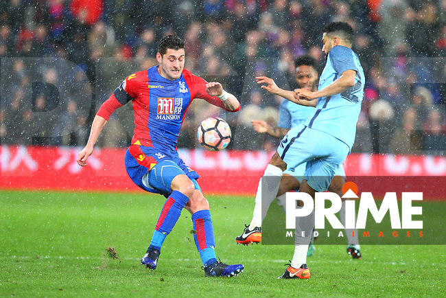 Manchester City's Gael Clichy tackles Joel Ward of Crystal Palace during the FA Cup fourth round match between Crystal Palace and Manchester City at Selhurst Park, London, England on 28 January 2017. Photo by PRiME Media Images / Steve McCarthy.