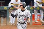 Kevin Smith (4), hit by pitch<br /> Maryland v Michigan<br /> Big 10 Baseball Tournament Championship Game<br /> <br /> &copy;2015 Bruce Kluckhohn<br /> #612-929-6010<br /> bruce@brucekphoto.com