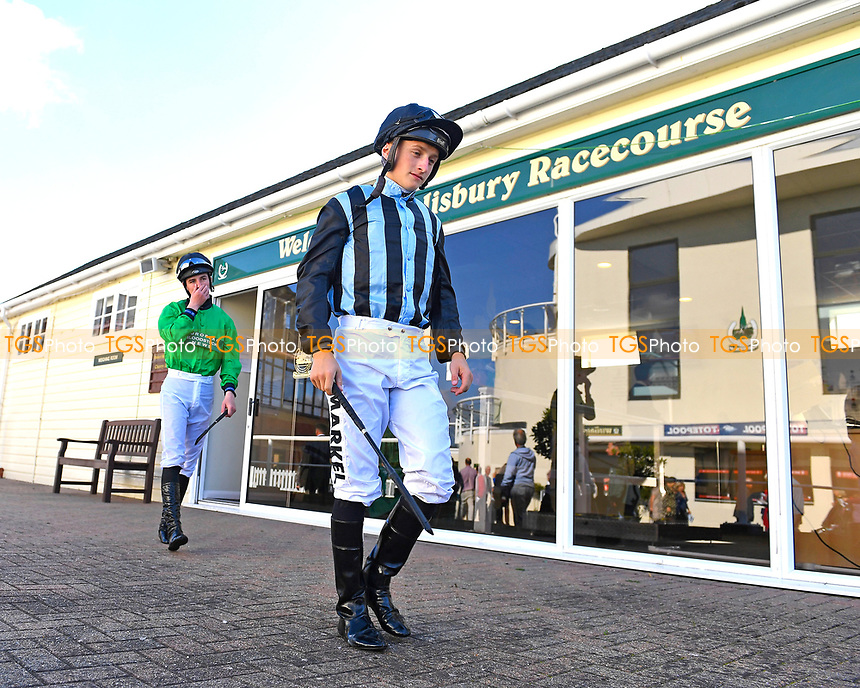 Jockey Tom Marquand leaves the Weighing Room during Afternoon Racing at Salisbury Racecourse on 3rd October 2018